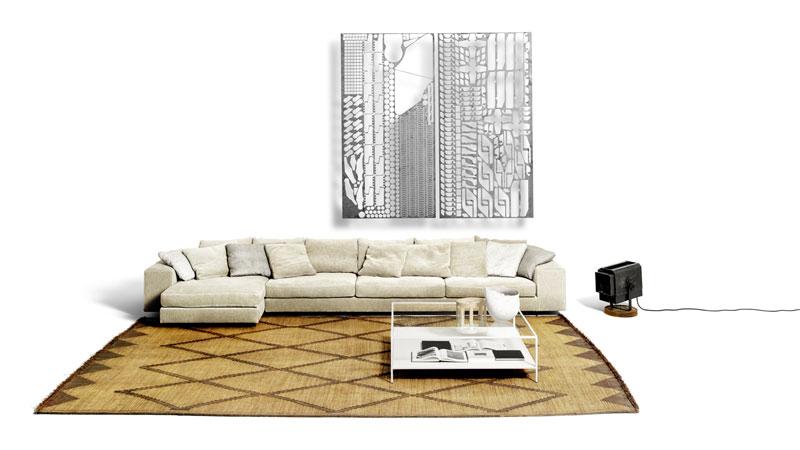 Divano Landscape e tavolino Quadrato Espositore