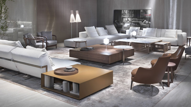 Feel Good ottoman, Lario sofa and coffee table, Crono small armchairs, Tindari small tables, Guscioalto armchairs
