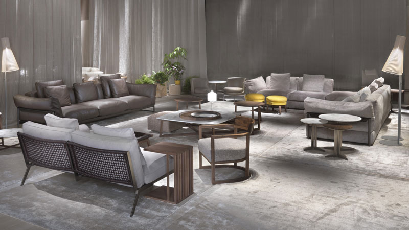 Zeno Light and Happy sofas, Fly and Jiff small tables, Feel Good small armchairs, Bangkok ottoman, Vienna small table