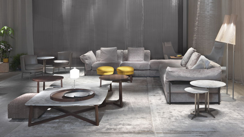 Zeno Light sofas, Fly and Jiff small tables, Feel Good small armchairs and footrest, Bangkok ottoman, Guscioalto Soft armchair