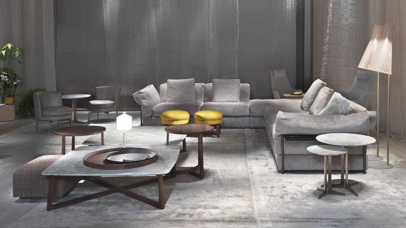 Canapés Zeno Light, Petites tables Fly et Jiff, Petits fauteuils et Pouf Feel Good, Pouf Bangkok, Fauteuils Guscioalto Soft