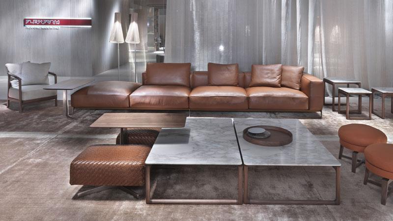Ettore sofa, Bangkok and Feel Good ottoman, Fly small tables, Crono small armchair