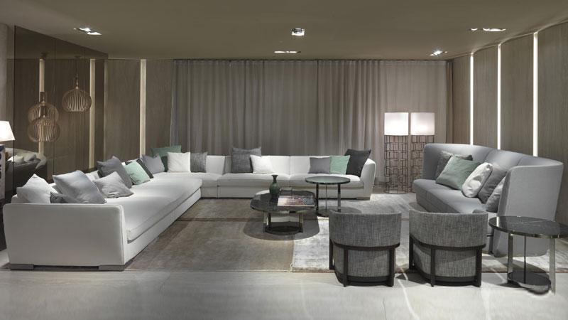 Altea and Ginevra sofa, Frida small armchairs, Fauno small table