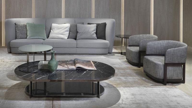 Altea and Ginevra sofa, Frida small armchairs, Fauno small tables