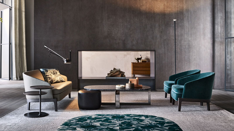 Chelsea sofa and amrnchair,  Domino Nesxt small table, Vicino Table small table