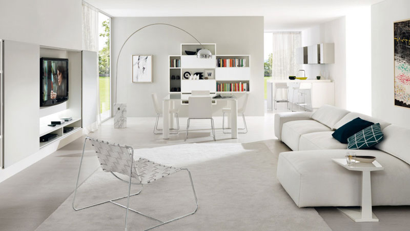 Z101 set consisting of wall-mounted bookcase in thermo-formed melamine white open pore oak