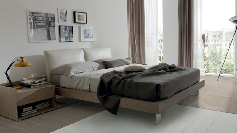 Flat bed and bedside table in thermo-formed grey wood TSS - padded headboard