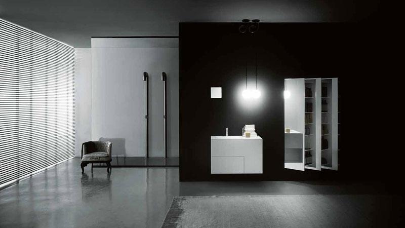Badezimmermöbel mit Waschtisch QUADTWO, Mischbatterie UNI, Spiegel KAJA, Leuchten BOCCIA, Säulenschränke CTLINE, Dusche PIPE