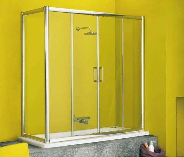 Pin porte doccia ante in cristallo o resina per tre pareti - Pareti doccia in resina ...