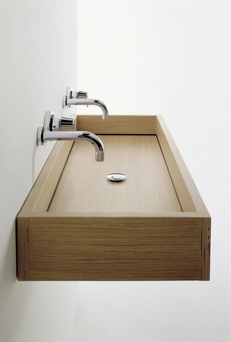 Washbasin basin woodline by agape for Lavabo exterieur