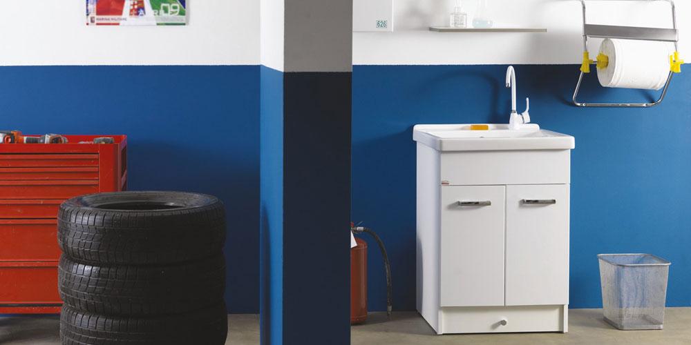 Arredo lavanderia e lavatoi composizione eko a da xilon - Mobile contenitore lavatrice ...