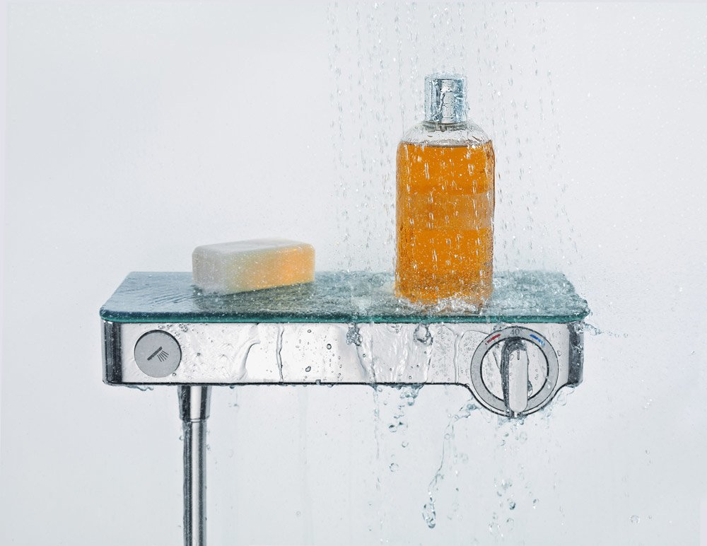 Hansgrohe armaturen f r dusche und wanne duscharmatur shower tablet select 300 designbest - Colonne de douche avec tablette ...