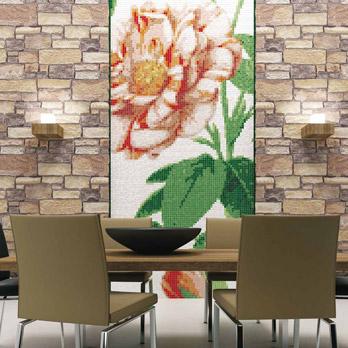 Mosaico Linee & Fiori - Rosa Gallica