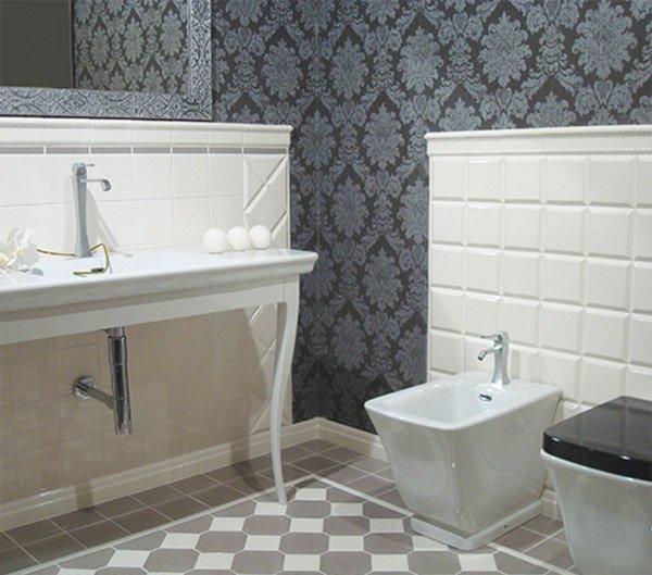 Piastrelle diamantate ispirazione per una piccola stanza - Piastrelle bagno bianche ...