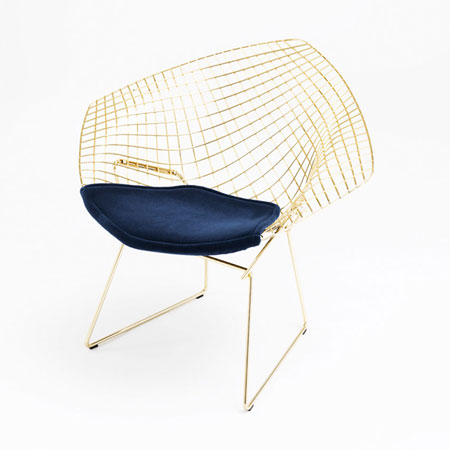 Small Armchair Bertoia Gold