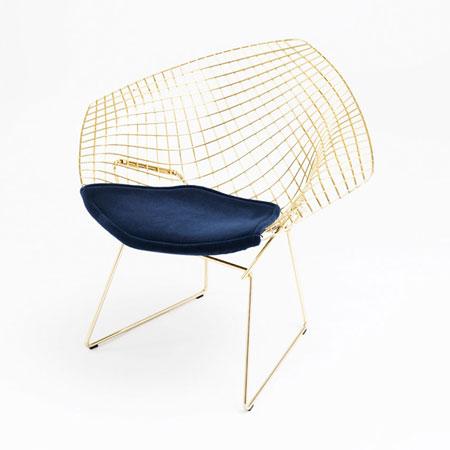 Petit fauteuil Bertoia Gold