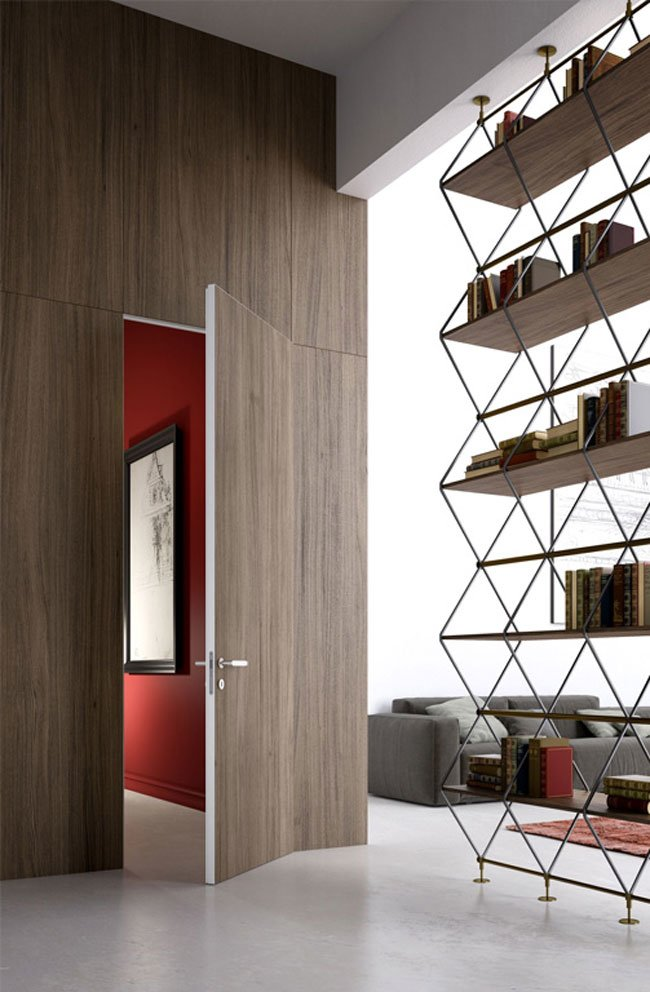 Hinged doors door l invisibile hinged in finito c by l for L invisibile portarredo
