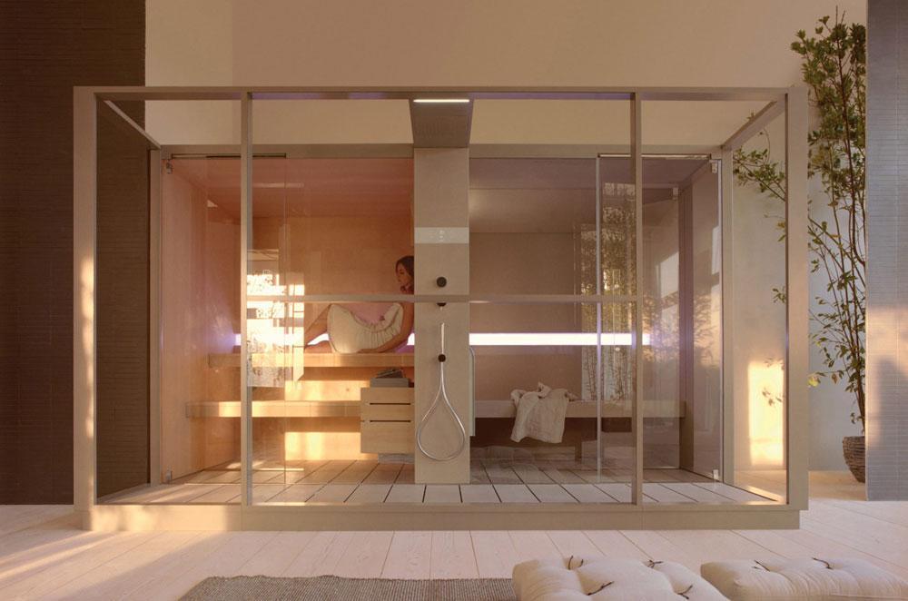 bagno turco e sauna sauna e doccia insieme finlandese con in abete