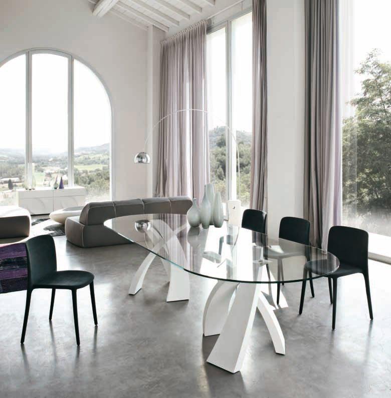Tavoli tavolo eliseo da tonin casa for Tavolo ovale allungabile vetro