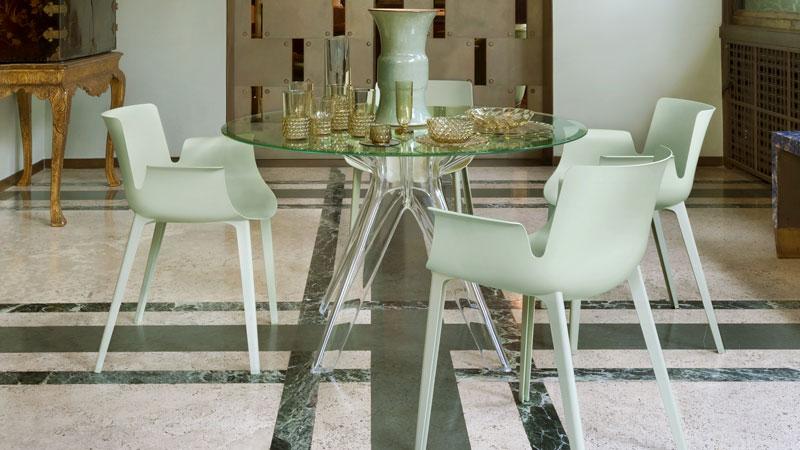 Largo sofa,  Kabuki free-standing lamp, Invisible small table, Colonna stools, Joe Colombo armchairs