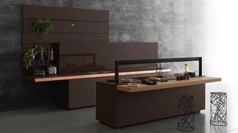 Genius Loci aus Mattglas Mocaccino mit Schublade aus Kupfer