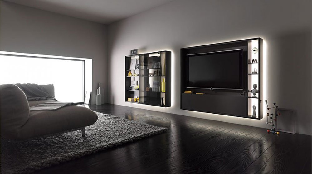 interl bke wohnw nde wohnwand bookless designbest. Black Bedroom Furniture Sets. Home Design Ideas