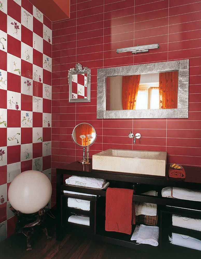 Tiles collection fatine buffe by ceramica bardelli - Piastrelle bagno rosse ...